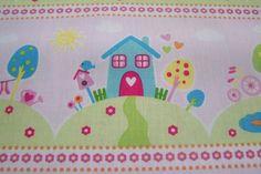 Meterware Riley Blake Sweet Home Herzen Häuser Wolken Baumwollstoff Kinderstoff