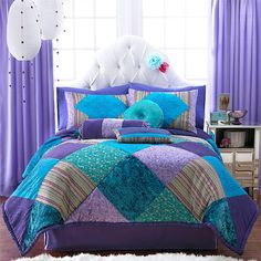 teal and purple bed in a bag | ... kids teen duvet bedding jewel colours lilac aqua purple turquoise teal