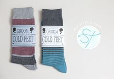 "Cute idea and I thought it'd be even cuter for a mini groomsmen gift--""Help me avoid cold feet"" with cute socks the groomsmen could wear at the wedding!"
