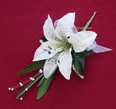 IVORY TIGER LILY BUTTONHOLE-BRIDE-WEDDING-bouquet-corsage-bridesmaids-posies