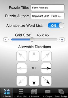Make My Own Word Search ($0.99) puzzles are made to be printed on paper. After you've chosen a grid size, directions allowed for word placement, & created a word list the app will generate a letter sized PDF file of the puzzle page, hint page, and answer sheet. AirPrint compatible or email the PDF files to yourself or others.. You can also transfer the files directly out of the app using iTunes File Sharing.  Image files are also created which are supported by most third party apps.