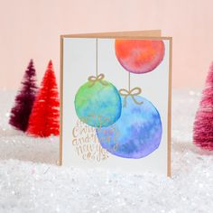 Watercolor ornament card - card making tutorial - Christmas cards - DIY cards - make your own cards
