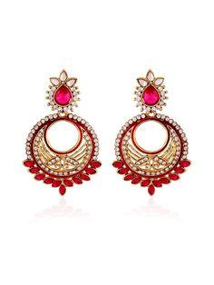Stone Studded #Earrings with diamantes. Item Code: JRUM539 http://www.bharatplaza.com/new-arrivals/jewellery.html