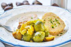 Die Kohlsprossen mit Maroni sind ein beliebtes Rezept zu Wildgerichten. Aber auch eine perfekte Beilage zu Kurzbegratenem. Potato Salad, Side Dishes, Potatoes, Chicken, Meat, Ethnic Recipes, Popular Recipes, Healthy Food, Napa Cabbage