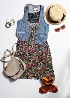 I want a new jean vest. Fashion Ideas, Fashion Inspiration, Jean Vest, Dress Outfits, Dresses, Overall Shorts, Everyday Fashion, Passion For Fashion, Spring Fashion