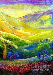 Sunset Art Art - Amber Skies  by Jane Small