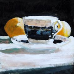 Still Life Painting China Tea Cup with Lemons Original by HOomen