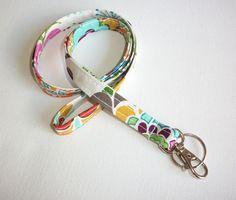 Lanyard  ID Badge Holder  Pretty Garden  Swivel Lobster by Laa766, $8.25