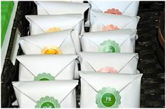 i love how these sandwiches are wrapped and stickered. awesome idea for party food!