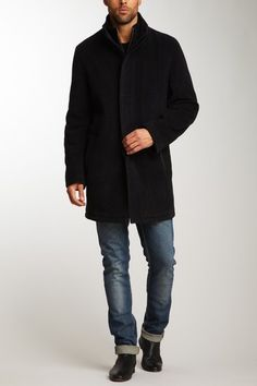 Cole Haan  Italian Wool-Cashmere Quilted Coat with Bib