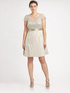 Kay Unger, Salon Z Lace/Sequin Cap-Sleeve Dress
