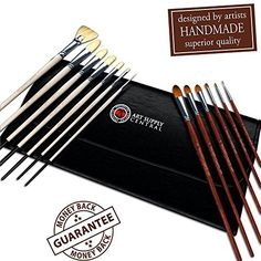 35% OFF TODAY *Superior Quality 14 Piece Artist Brush Set *HANDMADE Brushes: 7 Natural Bristle & 6 Synthetic Brushes *Bristles stay IN the brush - Absolutely NO Shedding *Round, Flat, Fan, Filbert * Synthetics are SOFT as Sable * High Quality Bristle is FIRM yet Flexible *PERFECT For Oil, Gouache, Acrylic & Watercolor Painting *BEST Paintbrush Set for Starter, Teen, Amateur, Art Student & Professional *FREE Case & BONUS Fine Detail Brush* Amazing VALUE *One Year GUARANTEE Art Supply Central…