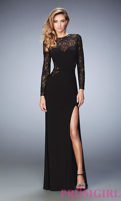 Prom Dresses, Celebrity Dresses, Sexy Evening Gowns: Black Long Prom Dress with Long Sleeves by La Femme