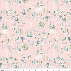 Neverland Lantern Fabric Pink Sold by the 1/2 Yard