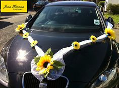 wedding car ribbon decoration, sunflowers & soft sheen organza (would substitute the sunflowers for pink and fuschia peonies) Wedding Car Ribbon, Wedding Car Hire, Luxury Wedding, Ribbon Decorations, Wedding Decorations, Fuschia Wedding, October Wedding, Church Wedding, Wedding Inspiration