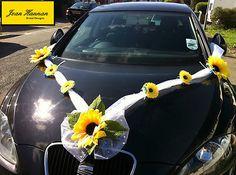 Vintage Wedding Car Decoration With Sunflowers Peritechnonart