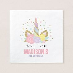 Unicorn Birthday Party Napkin Whimsical Unicorn - unicorn birthday diy gift idea present unicorns customize
