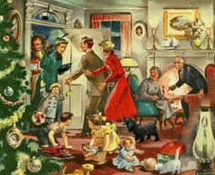 Wonderful post-war image shows guests arriving at a family Christmas gathering. Old Time Christmas, Christmas Scenes, Old Fashioned Christmas, Christmas Past, Christmas Greetings, Winter Christmas, Family Christmas, Xmas, Vintage Christmas Images