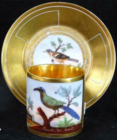 A fine antique Old Paris Empire porcelain cabinet coffee cup and saucer. It dates Each piece has been hand painted with a named ornithological scene. Coffee Cups And Saucers, Tea Cup Saucer, Tea Party Setting, Antique Tea Cups, Old Paris, My Cup Of Tea, Tea Service, Antique China, Kitchen Gadgets