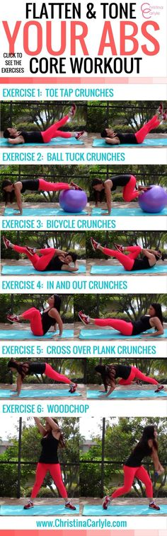 Core Workout for Women with Ab Exercises for a flat stomach Easy, yet effective core exercises from trainer Christina Carlyle. Train your core with this complete core workout for women. Use these ab exercises to burn belly fat. Ab Core Workout, Best Ab Workout, Abs Workout Routines, Abs Workout For Women, Workout For Beginners, Bed Workout, Sweat Workout, Woman Workout, Plank Workout