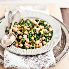 I was surprised by how much I enjoyed dandelion greens when I first tried them.  Chickpeas and dandelion greens.