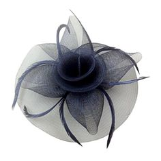 Womens Big Flower Mesh Feather Fascinator Hat on Hair Clip and Brooch