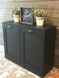 tilt out trash double bin black Hidden Trash Can Kitchen, Kitchen Trash Cans, Hide Trash Cans, Trash Bins, Garbage Can Storage, Trash Can Cabinet, Modern Kitchen Cabinets, Recycling Bins, Minimalist Kitchen