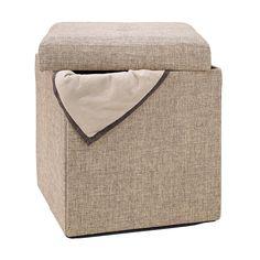 Simplify Natural Single Folding Storage Cube Ottoman