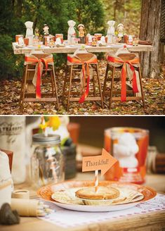 "Rustic Backyard Kids' Thanksgiving - Highchairs wrapped in burlap & orange ribbon and ""Thankful"" placemat word scramble"