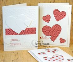 DIY Valentine's day cards with the Heart Framelits from Stampin Up! by Patty Bennett, www.PattyStamps.com