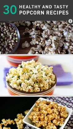 30 Healthier Popcorn Recipes — Healthy snacking has never been so easy (or del… - Health Snacks Lunch Snacks, Healthy Snacks, Healthy Eating, Healthy Recipes, Popcorn Snacks, Delicious Recipes, Pop Popcorn, Flavored Popcorn, Eating Raw