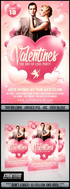 658 Best Valentines Flyer Templates Images On Pinterest In 2018