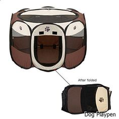 Dog Playpen - Foldable Dog Cat Playpen Yard Security Kennel Mesh Shade Cover Fence Tent For Indoor Outdoor