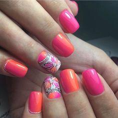 Beautiful summer nails, Bright gradient nails, Evening nails, Gradient nails with a transition, Nails trends 2017, Obmre nails, Original nails, Painted nail designs