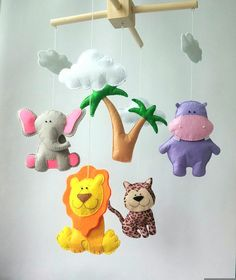 Colourful animal crib mobile for nursery by ZooToys, $64.00 USD