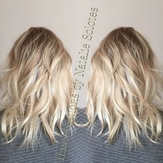 Baby blonde icy balayage colormelt color transition rooted dimensional dimension frozen cool toned ash beige hair painting freelights L'Anza cream decolorizer l'Anza love