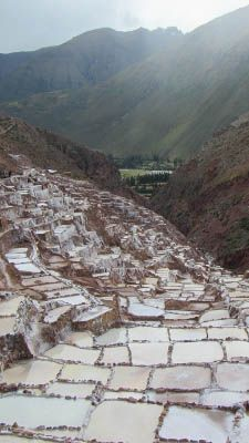 The salt mines of the Sacred Valley, Peru.
