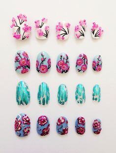 Blossom inspired nails by Sophie Harris-Greenslade at #TheIllustratedNail