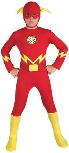 #882112 Trick-or-Treat at the speed of light as The Flash this Halloween. The Flash Costume includes a bright red, full body jumpsuit with yellow lightning embellishment, Flash insignia on the chest,