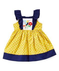 Mustard Yellow Bird Angel-Sleeve Dress - Infant, Toddler & Girls