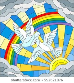 Illustration in stained glass style with a pair of white pigeons is not the background of the Sunny sky , rainbow and clouds White Pigeon, Baby Booties Free Pattern, Christmas Embroidery Patterns, Cloud Vector, Stained Glass Art, Free Illustrations, Mosaic Art, Doodle Art, Clouds