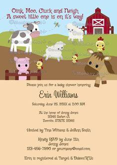 Animal Acres Farm Animal Baby Shower invitation barn by monkeyhut, $16.00