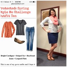Day 10 #GYPOstyleme outfit ~X-tremely V striped shirt, navy skirt, leopard flats, coral scarf