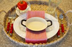 Red and White Place Setting