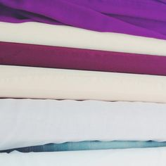 From our first round of fabric sourcing- silks of the warm palette. Behind The Scenes, Bed Pillows, Palette, Flag, Warm, Fabric, Pillows, Tejido, Tela