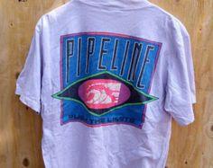 Vintage Surfing Pipeline Push The Limits Surf Longsleeve Hawaii Aloha Hang Ten T shirt