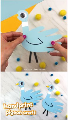 Handprint Pigeon Craft For Kids - Crafts For Kids - If your children love Don't Let The Pigeon Drive The Bus or the other pigeon children's books, - Paper Crafts For Kids, Easy Crafts For Kids, Diy For Kids, Craft Kids, Quick Crafts, Craft Work, Creative Crafts, Simple Origami For Kids, Cereal Box Craft For Kids