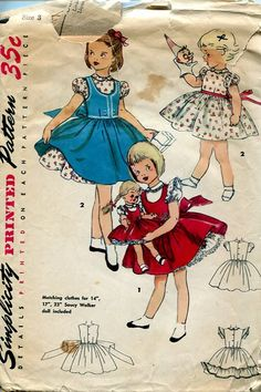 Sewing Patterns #Vintage Simplicity 4870 Retro 1950's Girls Dress with Matching doll pattern