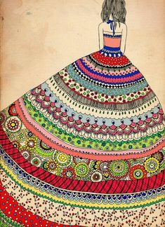 Mandala Vorlagen muster wunderschön kleid