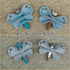Blue dragonfly Leather pin brooch handmade by EviLeatherCraft